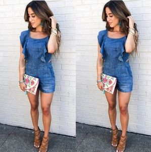Pants - Denim Ruffle Romper